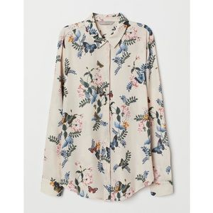 H&M Light Beige Floral Blouse